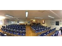 Church Hall for Hire: seats 100, kitchen, adult child and disabled toilets, small meeting room