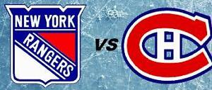RANGERS VS CANADIENS IN MONTREAL! 1ST ROUND PLAYOFF TICKETS!