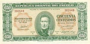 Uruguay.50 (cincuenta cestesimos) peso Banknote