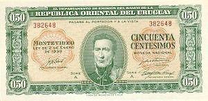 Uruguay.50 (cincuenta cestesimos) peso Banknote