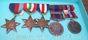 AUTHENTIC SET 5 WW2 RIBBONED NORMANDY MILITARY MEDALS ON BAR 2 SILVER ISSUED