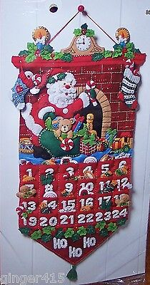 Bucilla New MUST BE SANTA Felt Christmas Advent Calendar Kit-Fireplace Clock