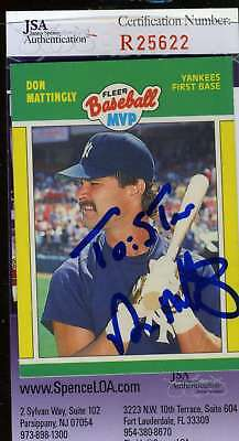 DON MATTINGLY 1989 FLEER MVP Hand Signed JSA Certified Autographed Authentic
