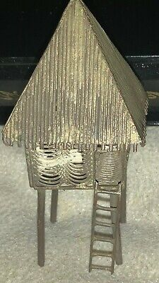 Rare & Unusual Miniature Oriental Filigree Tree House Probably Antique