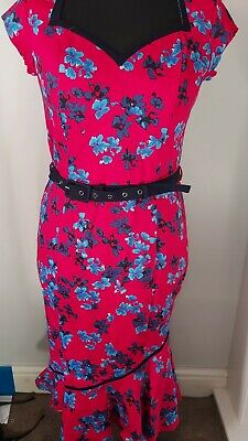 Fab Joe Browns The Bop Floral Dress Red Size 12 1940s pin up style Fluted Hem