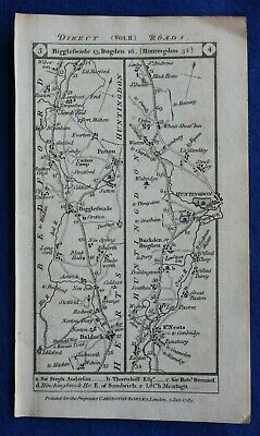 Original antique road map BEDFORDSHIRE, HUNTINGDON, BALDOCK, Paterson, 1785