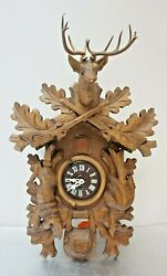 Black Forest Hunter Style Cuckoo Clock, 8 Day Movement, Stag, Hare, Bird 18