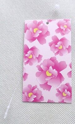 100 Boutique Tags Cute Pink Flowers Price Tags Hang Tags W Self-locking Ties