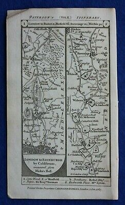 Original antique road map LONDON, BARNET, HATFIELD, STEVENAGE, Paterson, 1785