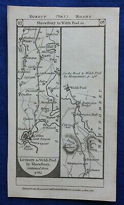 Original antique road map SHROPSHIRE, MONTGOMERYSHIRE, FLINTSHIRE, Paterson 1785