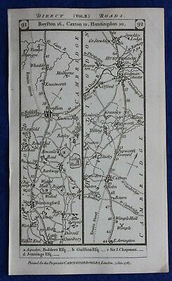 Original antique road map CAMBRIDGESHIRE, HUNTINGDONSHIRE, Paterson, 1785