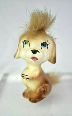 Cute Vintage Kitsch 1960's Japanese Ceramic Puppy Dog Ornament Big Eyes & Fur