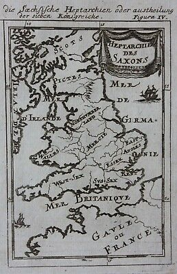 Original antique map, ENGLAND & WALES, SAXON HEPTARCHY, A.M. Mallet, c.1719
