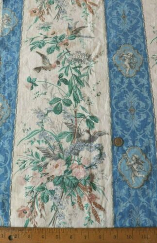"""Antique French 19thC Roses,Birds & Cupid Cotton Hand Blocked Fabric~L-48""""X W-32"""""""
