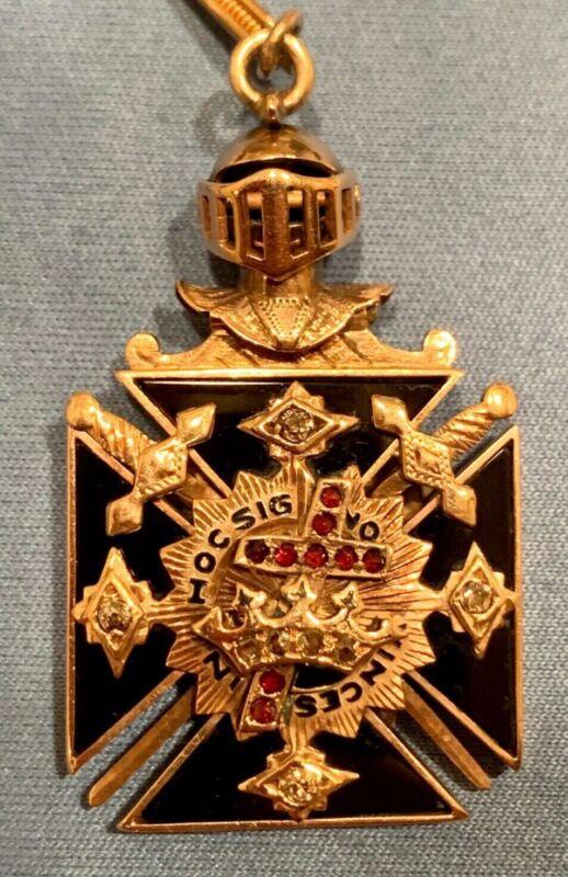 "Knights Templar Masonic ""In Hoc Signo Vinces"" Antique Fob with Diamonds & Chain"