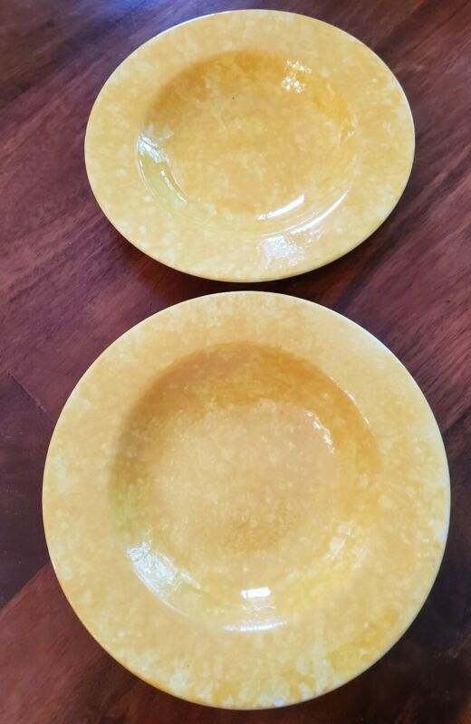 Vintage Stangl Pottery Yellow Caughley Spongeware Wide Rim Soup Bowls X 2 *RARE*