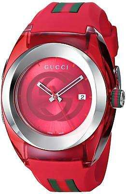 New Gucci Sync XXL YA137103 Red Rubber Band Red Dial Unisex Watch