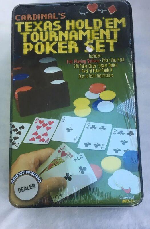 Cardinals Texas Holdem Tournament Poker Set With Dealer Button New In Tin