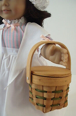 Picnic Basket with Green Stripes Girl Doll Food Accessory
