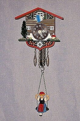 Cuckoo Clock - Miniature Black Forest Clock with Bouncing Girl - NEW