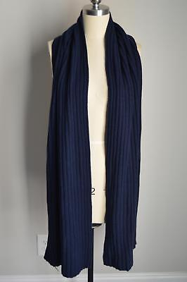 NEW $158 JCrew Collection 100% Cashmere Ribbed Scarf Nevy Blue NEW NWT F8015, used for sale  Roanoke