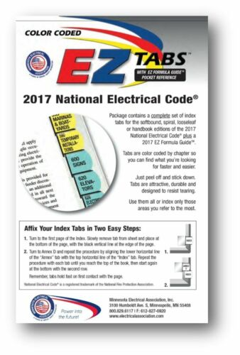 Color Coded EZ Tabs with EZ Formula Guide Based on 2017 National Electrical Code