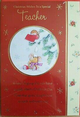 Teacher Christmas Card - Christmas Wishes To a Special Teacher - Free P&P ()