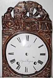ANTIQUE FRENCH COMTOISE MORBIER PORCELAIN CLOCK DIAL W/ ORNATE BRASS SURROUND.
