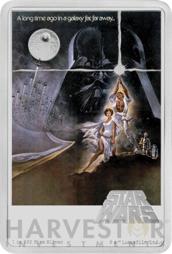 2020 STAR WARS A NEW HOPE POSTER COIN - 1 OZ. SILVER COIN - MINTAGE 1,977