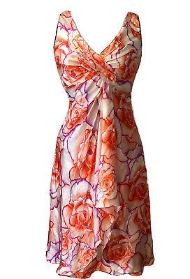 Perfect Vintage Versace Silk Summer Wedding Gown Tea Dress Floral Rose Silk 6UK
