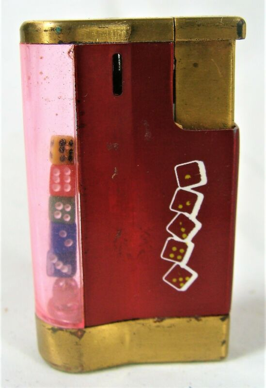 Vtg Refillable Butane Lighter w/ 5 Colored Dice in See Thru Side