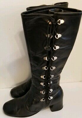 Lace Up Gogo Boots (Vtg 60s Lace-up GoGo Boots Mod Chic Hippie Boho Black Leather Womens)
