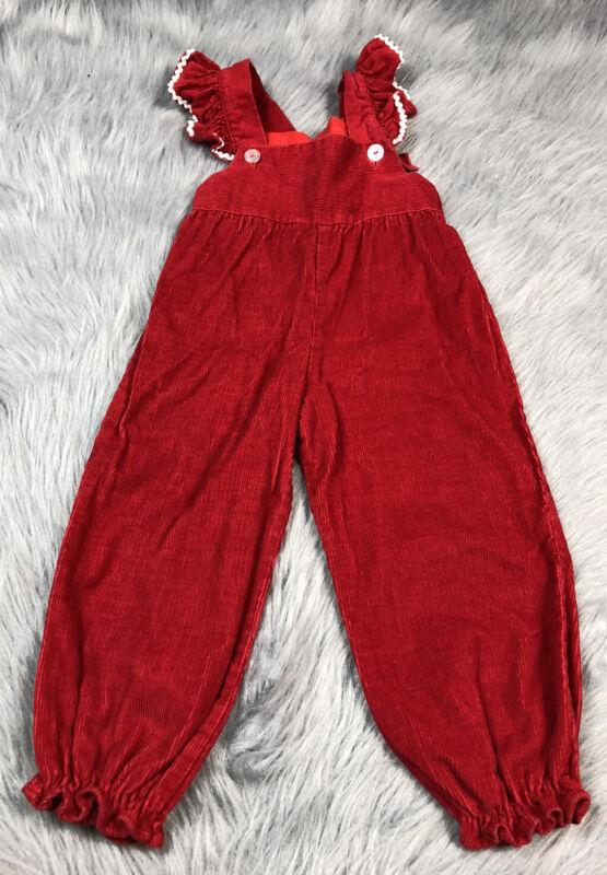 Vintage Toddler Girls Red Corduroy Flutter Ruffle Sleeve Overalls
