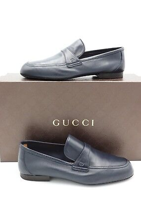 NIB Gucci Mens Unlined Navy Blue Leather Slip-on Loafers Shoes  7 US