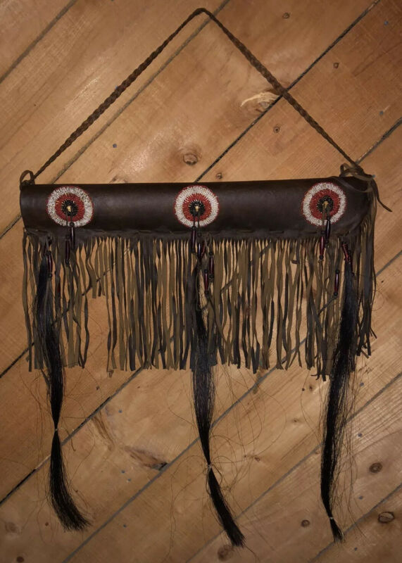 Fine Vintage Native Leather Seed Bead  Beadwork & Horsehair Quiver