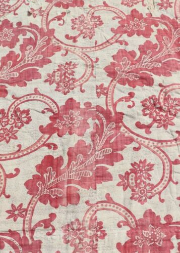 """Antique French Block & Resist Dyed Toile Fabric c1770~L-20.5"""" X W-45"""""""