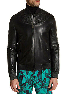 $1895 Versace Collection Men's Leather Bomber Jacket in Black Size IT 46 / US 36