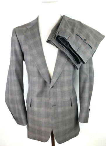 Vtg Hickey Freeman Boardroom Mens 42L Wool Tweed Suit W36/L30 USA Plaid Gray 2B