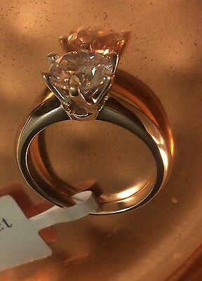 2 Ct Round Cut Diamond Engagement Ring SI1/D 14K White Gold Size 8.5