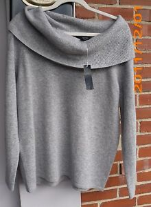 GRACE WOMAN 2-PLY LIGHT  HEATHER GREY COWL NECK 100%  CASHMERE SWEATER 2X NEW