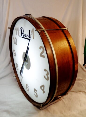"Antique 24"" Bass Drum Bar Room Clock Backlit White to Black Numbers"