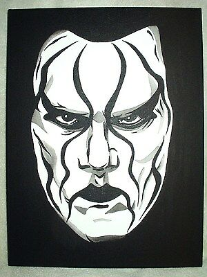 Canvas Painting Wrestler Sting Serious Face Red Art 16x12 inch - Sting Red Face Paint