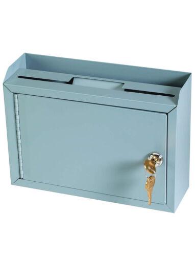 Steelmaster Secure Multi-purpose Steel Drop Box 9 3/4 X 7 X 3 Gray W/ Pen & Keys