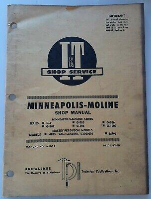 Minneapolis Moline Massey Shop Manual G-vi G707 G705 G706 G708 G1000 Mf95 Mf97