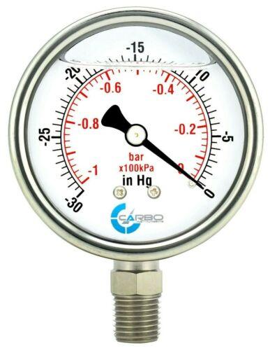 "2-1/2"" Pressure Gauge, ALL STAINLESS STEEL, Liquid Filled, Lower Mnt, -30 inHg/0"