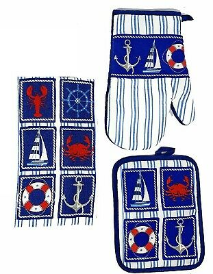 Nautical Sailboat Lobster Crab Anchor Kitchen Towel Potholder Oven Mitt 3 pc Set ()