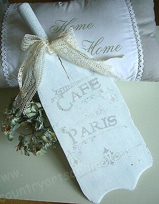 Frankreich, alter Brotschieber um 1900 * CAFE PARIS * Weiß Shabby Franske, 48 cm