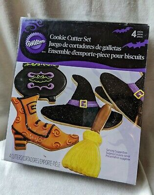 Wilton Halloween Witch Metal Cookie Cutters New in Box Includes 4 Broom Shoe Hat