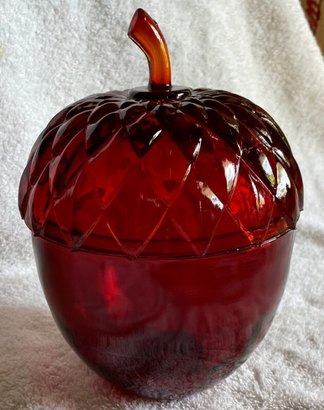 Vintage Ruby Red Glass Acorn Two Piece Candy Dish Bowl w/ Lid
