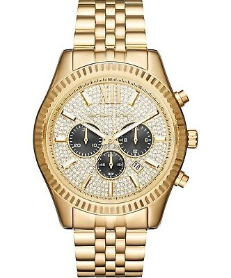 Michael Kors Men's MK8494 44MM Lexington Chronograph Crystal Pave Dial (Michael Kors Mens Gold)